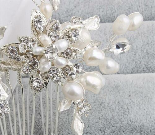 Diamante Hair Comb Pearl Bridal Dress Accessories Blossom Wedding Gown Headpiece