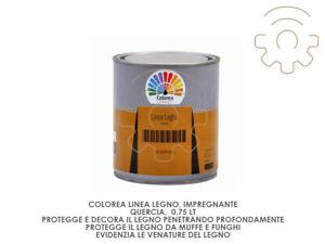 Colorea Impregnante Vernice Per Legno Colore Quercia 0,75 Lt Anti Muffe E Funghi
