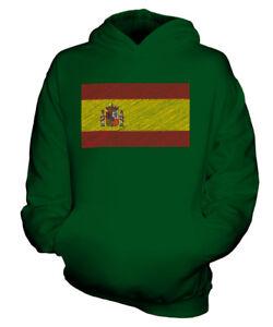 SPANIEN KRITZELTE FLAGGE KINDER KAPUZENPULLOVER HOODIE JUNGEN MÄDCHEN KLEINKIND