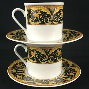 Set-of-2-VTG-Cups-and-Saucers-by-Lynns-Fine-China-Valetta-Black-Yellow-Elegance