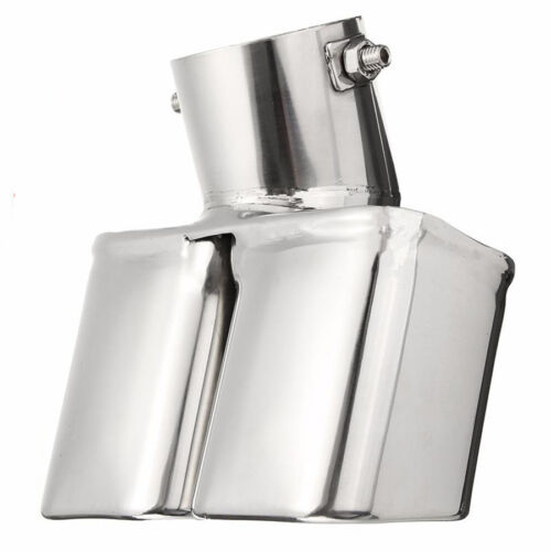 """1X 2.5/"""" Stainless Steel 1to2 Car SUV Dual Exhaust Ppipe Muffler Tip Cover Silver"""