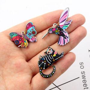 5Pcs-set-Animals-Dog-Cat-Butterfly-Mixed-Enamel-Beads-Pendants-Charms-Craft-DIY