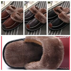 Men-039-s-Home-Slippers-Winter-Warm-Leather-Indoor-Flats-Comfy-Close-Toe-House-Shoes