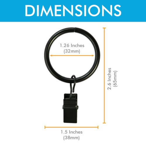 """Curtain Rings w// Clips Metal Curtain Clips Decoratice Drapery Rings 1.25/"""" Dia."""