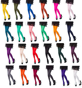Opaque-Tights-Choose-From-25-Fashionable-Colours-40-or-100-Denier-Sizes-S-XL