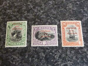 MALTA-POSTAGE-amp-REVENUE-STAMPS-SG187-189-LIGHTLY-MOUNTED-MINT