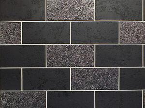 Image Is Loading Black White Grey Tile Effect Wallpaper Brick Glitter