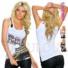 Sexy Women's Ladies Summer Printed Top Singlet Hot Blouse Size 10 12 14 M L XL