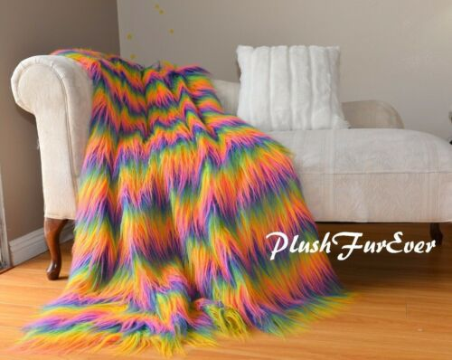 5' x6' Luxurious Long Pile Fur Rainbow Mongolian Faux Fur Throw Comforters Decor
