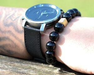 Onyx-925er-sterling-Silber-vergoldet-Armband-Bracelet-Perlenarmband-12-mm
