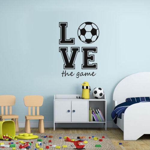 Football Soccer Love The Game Sport Fan Boy Room Wall Sticker Kid Bedroom Decal