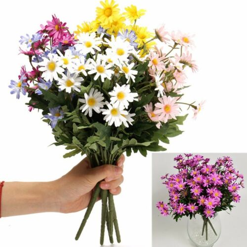 24 Heads Artificial Flower Daisy Bouquet Fake Flowers Wedding Party Table Decor