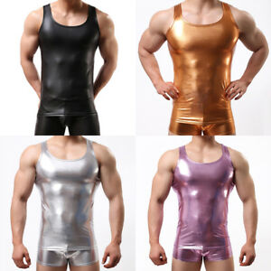 Mens-Spandex-Stretch-Vest-Tank-Tops-Sleeveless-T-shirt-Metallic-Shiny-Tee-Muscle