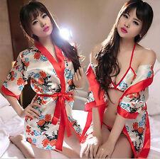 Costume Completo Rosso Fiori Kimono Giapponese Sexy Cosplay Cintura Japanese