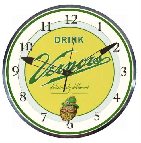 Vernor's Ginger Ale 15 Retro Style Metal Pam Advertising Clock LED Lighted