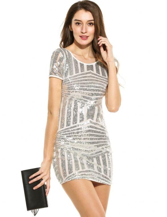 12aca4ee0f55 Vestito mini abito tubino donna moda argento 3305 paillettes elegante  nndoop8219-Vestiti