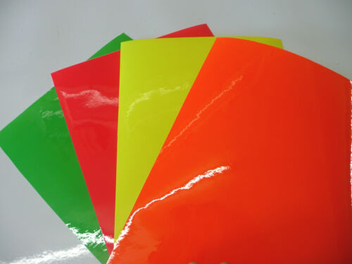 10 x A4 Of Sticky Back Plastic Fluorescent Neon Self Adhesive Sign Vinyl Fablon
