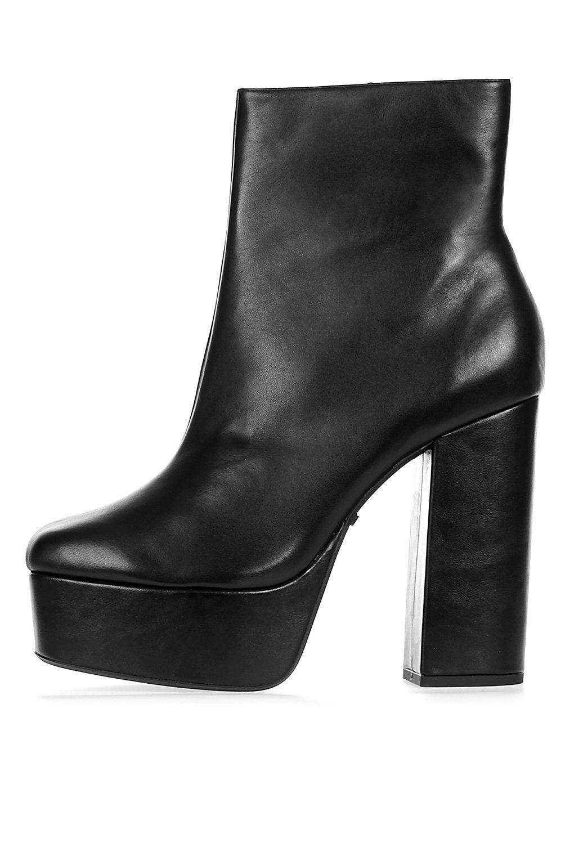 new TOPSHOP 'hot-stuff' black leather platform 38 boots uk 5 eu 38 platform us 7.5 7aad6b