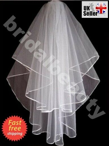 New 1T Ivory//White Wedding Bridal Elbow Satin Edge Veil with Comb CRYSTALS