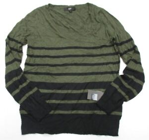 new-MOSSIMO-K1322-Women-039-s-Size-L-V-Neck-Casual-Knit-Striped-Olive-Green-Sweater