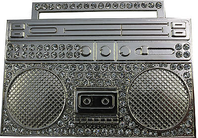 BOOMBOX GHETTO BLASTER STEREO RADIO RM MUSIC HEAVY METAL BUCKLE /& LEATHER BELT