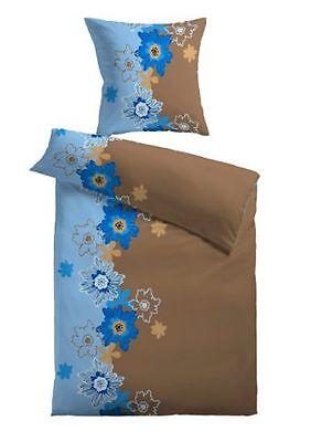 ln 33 BettwÄsche Microfaser Blumen Blau Braun Reißverschluss Neu 2 Tlg