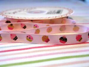9mm-Pink-Cupcake-Print-Grosgrain-Ribbon