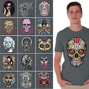 Sugar-Skulls-Day-of-the-Dead-shirt-Dia-De-Los-Muertos-Halloween-Shirts-CHARCOAL