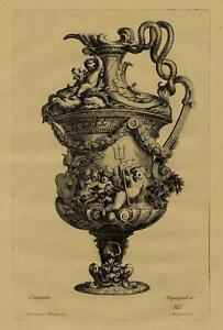 Decoration-Vase-aux-Amours-Cherubins-Jean-Lepautre-Gravure-XIXeme-Pequegnot