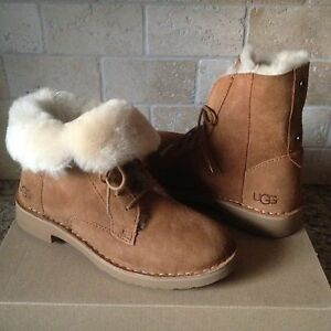 ce1e7eccdb9 Details about UGG Quincy Chestnut Suede Sheepskin Lace up Ankle Boots Shoes  Size US 9 Womens