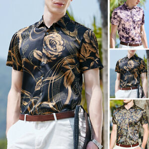 Mode-Hommes-Chemise-imprimee-a-fleurs-en-satin-a-manches-courtes-Hawaii-hauts