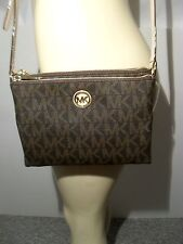 NWT Michael Kors Brown Fulton Large EW Crossbody PVC Handbag MK Signature Bag
