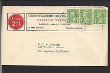 TUCSON, ARIZONA COVER,1935. MACHINE CL. ADVT WITH TELEPHONE #.  VF MACHINE CL.