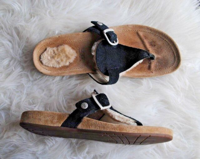 cbe18cf94f5 Ugg Suede Leather Thong Flip Flop Sandals- Women's Size 5, EUR 35. Black,  Sheep