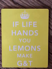 WHEN LIFE HANDS YOU LEMONS MAKE GIN COASTER YELLOW CROWN  - NEW IN CELLO