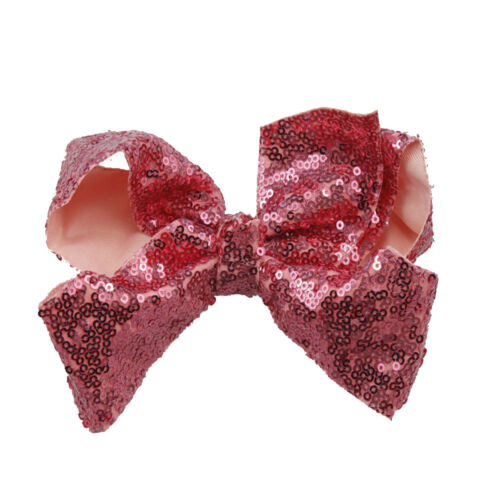 """6/"""" Sparkling Glitter Girls Sequin Sparkle Hair Bow Clip Pin Accessories"""