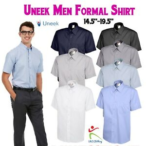 Uneek-Mens-Pinpoint-Oxford-Short-Half-Sleeve-Shirt-Formal-Dress-Office-Work-Wear