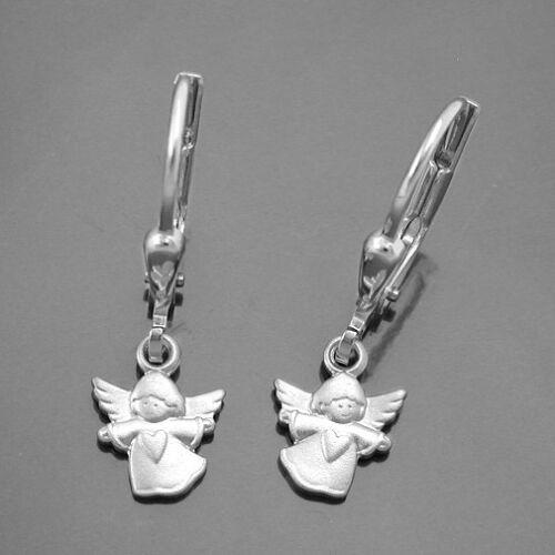 Weiß Gold 333 Mädchen Schutz Engel Herz Ohrringe Kinder Engel Ohrhänger Hänger
