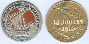 Insigne-de-journees-14-18-Melle-VIGREUX-PARIS-14-juillet-1916-rond-caravelle
