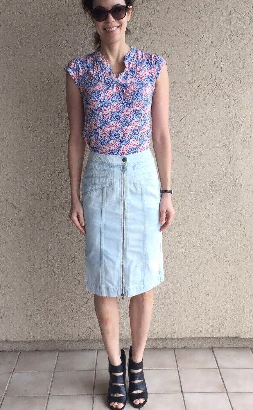Anthropologie Zip Front Denim Skirt Sz 0 New Tags