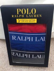 NUOVO-Con-Scatola-Da-Uomo-Polo-Ralph-Lauren-3-conf-Slip-vita-bassa-Pants-Biancheria-intima-Taglia