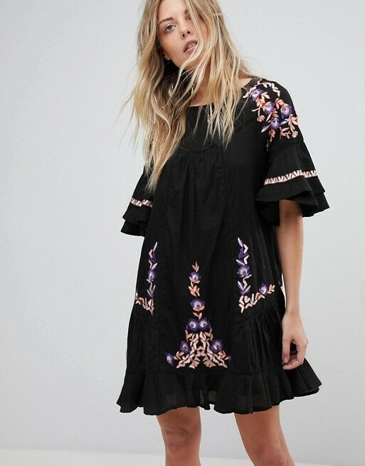 NWT FREE PEOPLE PAVLO EMBROIDERED BOHO DRESS XS XSMALL AUTHENTIC   SFS