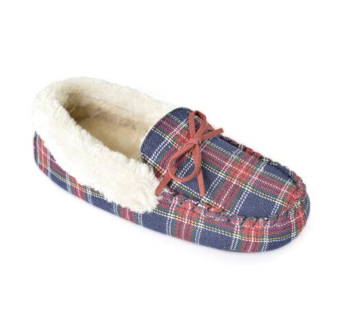 Ladies Tartan Moccasin Warm Winter Slippers Slumberzzz Womens