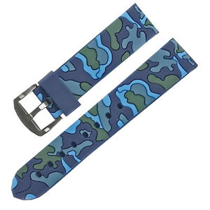 22mm-Blue-Camouflage-Rubber-Watch-Band-Strap-Military-Army-Watch-Replacement