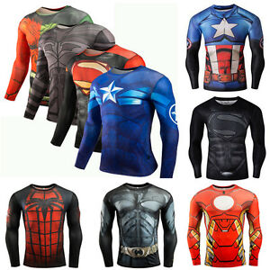 Men-3D-Compression-Shirt-Superman-Long-Sleeve-Tee-Sport-Tops-Tights-Cycling-Gym