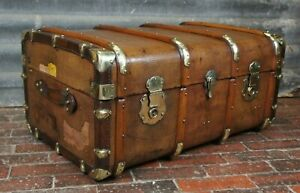 Sublime-Antique-Leather-amp-Brass-Bound-Cabin-Chest