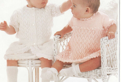 Lovely lace cardigan and baby girls dress -4 ply- knitting pattern- chest 18-24