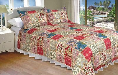Kismet 100-percent Cotton 3-piece Full/Queen Quilt Set, Bedspread, Coverlet