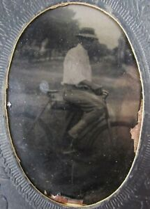 Antique Bicycle Young Man Photo Tintype New York Bike Road Trip 1880-90's