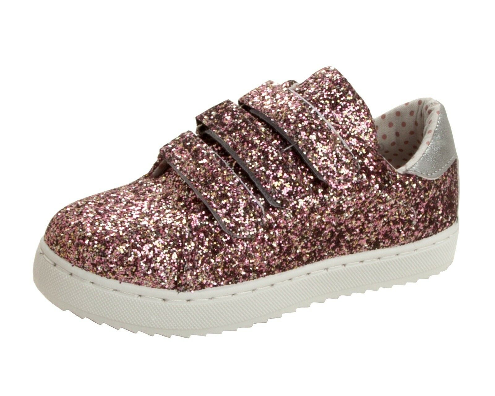 Girls Rose Gold Glitter Skater Shoes